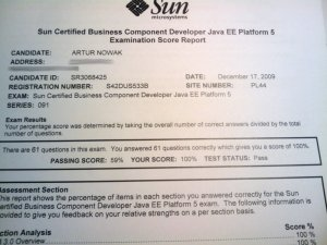 My SCBCD Examination Score Report showing I passed it at 100% at December 17, 2009